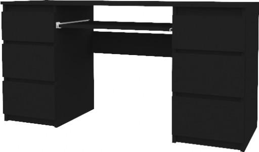 Biurko Komputerowe 130cm 6 Szuflad Stolik Czarny
