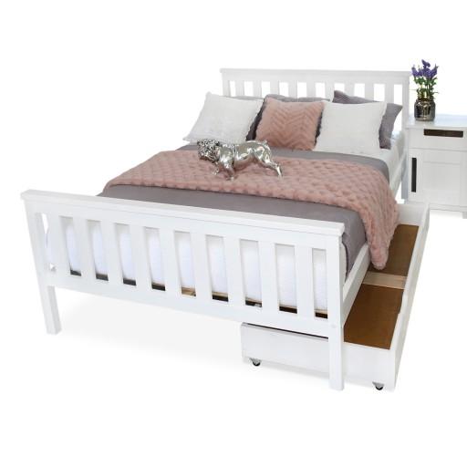 łóżko Drewniane Iza 180x200 Białe Materac Produc