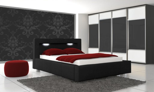 Czarne łóżko Do Sypialni 160 X 200 Cm Pojemnikled