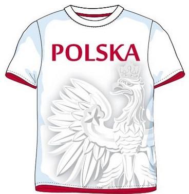 4360b843ed7a63 Koszulka kibica T-shirt POLSKA ORZEŁ 116-146 7343991583 - Allegro.pl