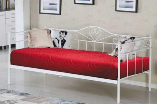 Białe łóżko Metalowe Ze Stelażem 90x200 Materac