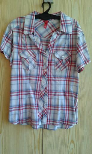 Czerwono niebieska koszula w kratę H&M XS 34 7595298322  D0meu