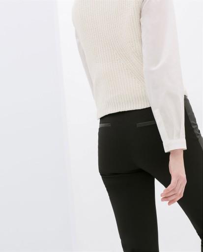 ZARA czarne spodnie z lampasem skóra M 38  NOWA