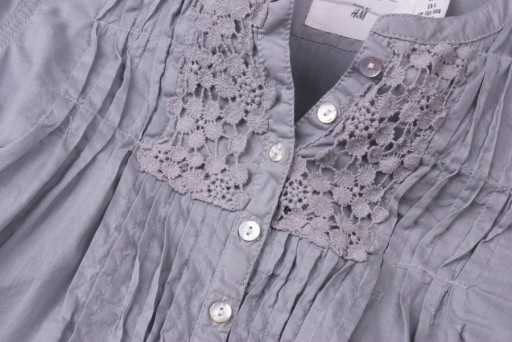 Szara, luźna koszula z koronką XS 34