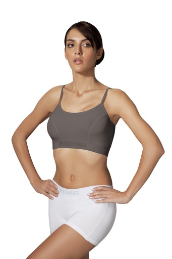 308cede180687f DOREANSE: TOP STANIK sport fitness 14120 :L: SZARY Wzór dominujący bez wzoru