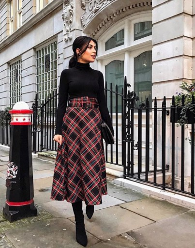 Blogerska Spódnica Krata z Paskiem ZARA M