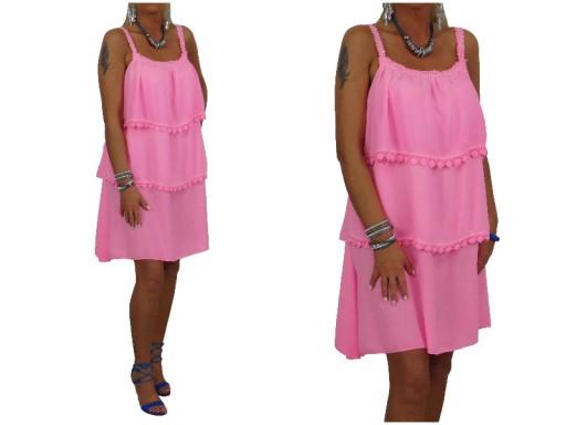 8f4af6624d 380 Zmysłowa Różowa Sukienka Falbany Koronka Italy (7145049136 ...