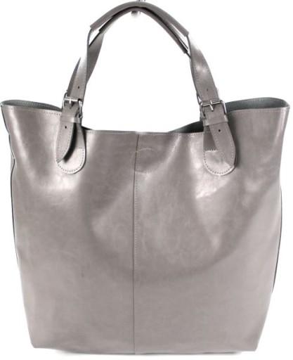 Skórzana torebka damska Maltaro shopper bag szary
