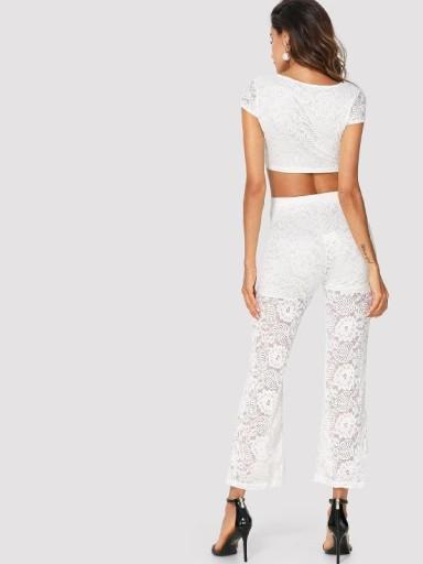 9ee24af709a9f2 Komplet elegancki koronkowy biały top + spodnie 7340983145 - Allegro.pl
