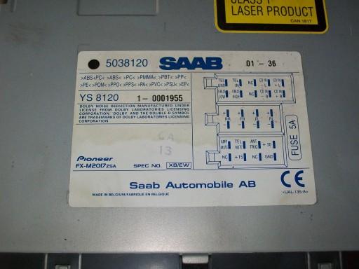 RADIO KASETA CD PIONNER SAAB 95 02r 5038120
