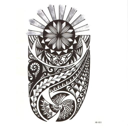 Tatuaż Zmywalny Aztecki Tribal Bóg Słońca 15x21cm