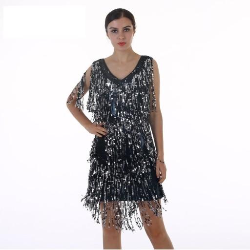 483af89779 Czarna Sukienka Cekiny Frędzle Bal Karnawał 2xl44 7689298304