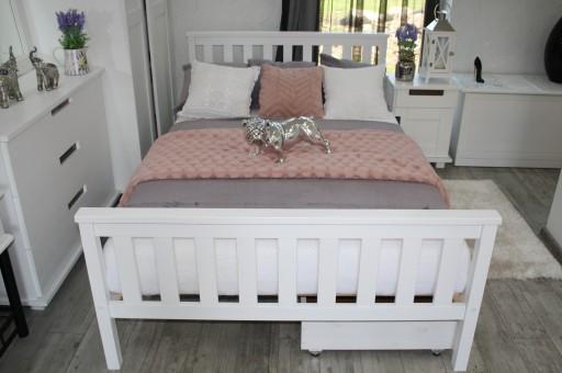 łóżko Drewniane Sosnowe Iza 180x200 Białe Stelaż 7281408375