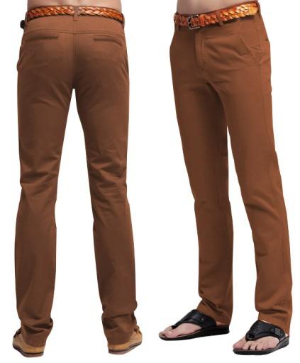 Spodnie Męskie Bawełniane Chinosy 005 94 cm rudy