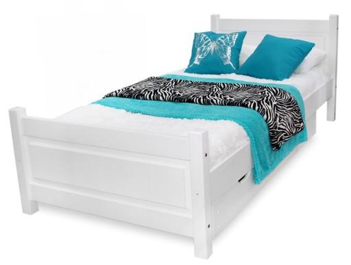 łóżko Drewniane Lena 100x200 Białe Stelaż Sypialni