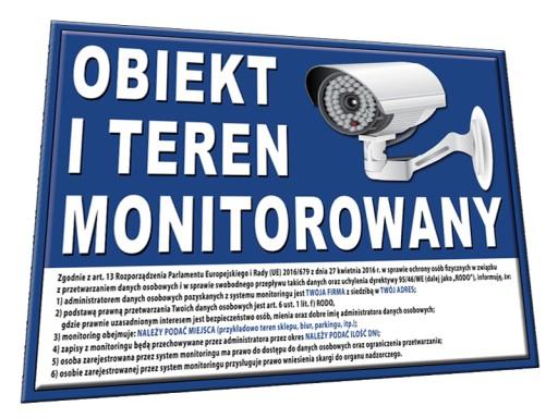 TABLICA OBIEKT TEREN MONITOROWANY 25x20 RODO znak