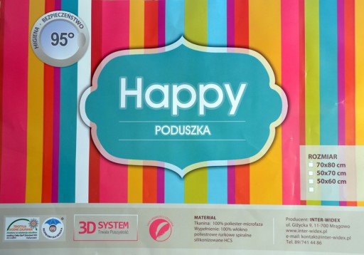 Poduszka INTER-WIDEX HAPPY 40x40 Producent JAKOŚĆ!