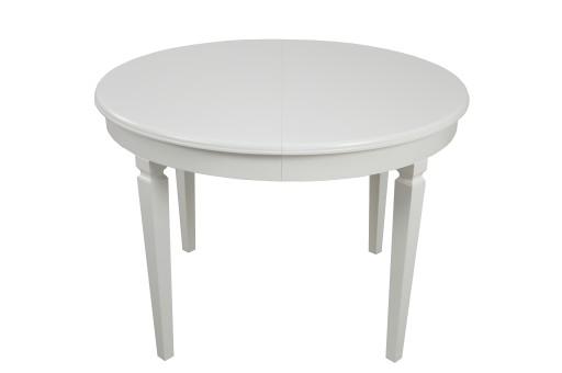 Stół Okrągły Drewniany Rozkładany Biały 110x210 Cm