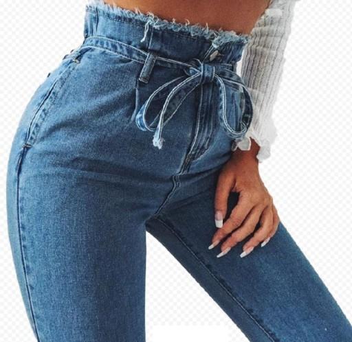 c271f6fedda617 Spodnie dżinsowe mom jeans wysoki stan z paskiem M 7606538592 ...