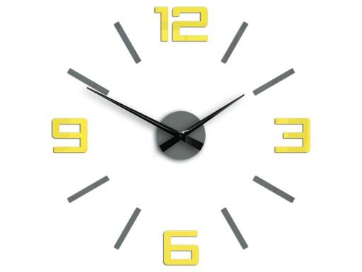 Zegar ścienny Silver szaro - żółty Obraz Nowość