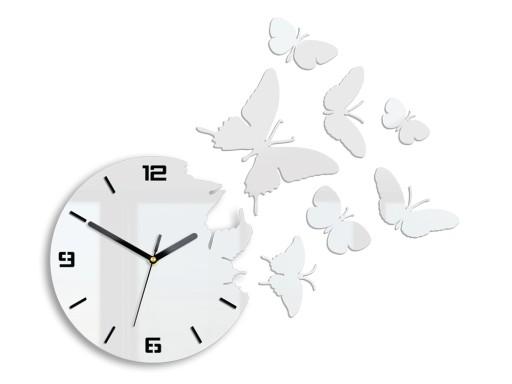 Zegar ścienny ModernClock - MOTYLE 3D BIAŁY-NOWOŚĆ