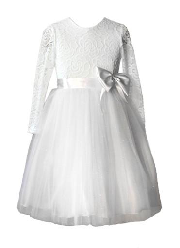 a100b9dd8e Sukienka chrzest tiul koronka wesele druhna 86 (7526040928 ...