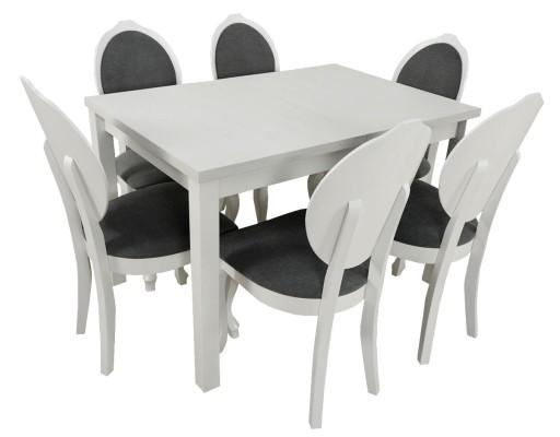 Stol 6 Krzesel Glamour Biale Drewno Ada Meble 7164803520