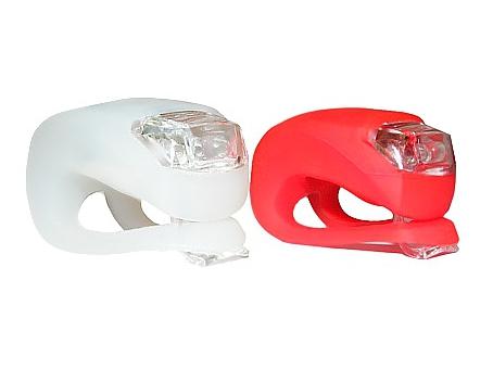 Silikonowe Oświetlenie LAMPKI ROWEROWE 2szt +BAT