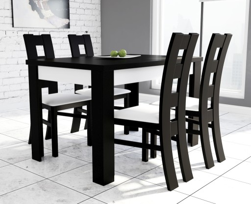 Zestaw biało-czarny stół i 4 krzesła do kuchni
