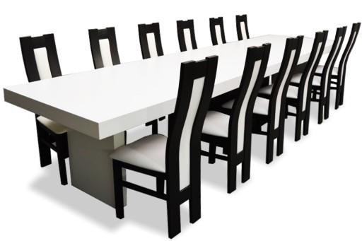 Duży Zestaw Do Salonu Biały 12 Krzeseł I Stół Nowy