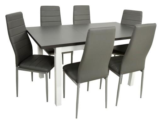 W Mega Biało szary stół i 6 krzesła EKO do kuchni jadalni 7314804533 AI06