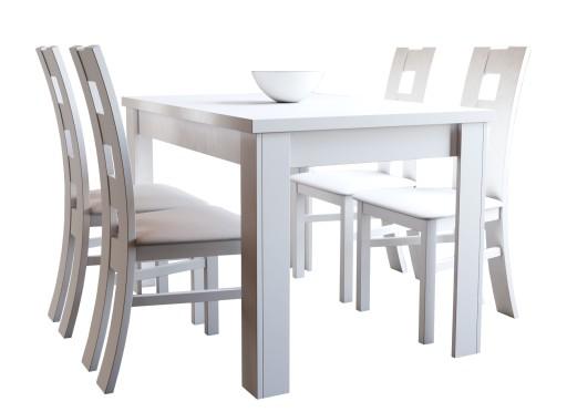Nowoczesny Biały Stół Z 4 Krzesłami Do Kuchni