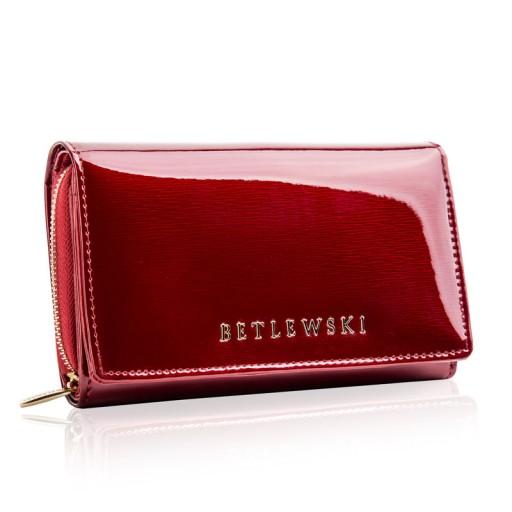 a55f3ffccabd8 Skórzany portfel damski lakierowany Betlewski RFID 7697911844 ...