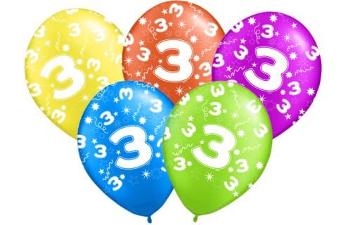 5f767ece64f27e Balony na urodziny 3 TRZECIE PARTY Balon 5 szt. 6784519949 - Allegro.pl