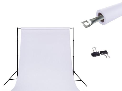 ZESTAW DO TEŁ + TŁO FOTO biały 1.4x2.5m + KLIPSY