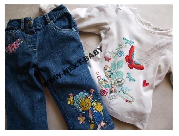 M&S bluzka HAFTY ___ FIFI jeansy _ 86 / 92 9063724705 Dziecięce Odzież QL VIZOQL-7