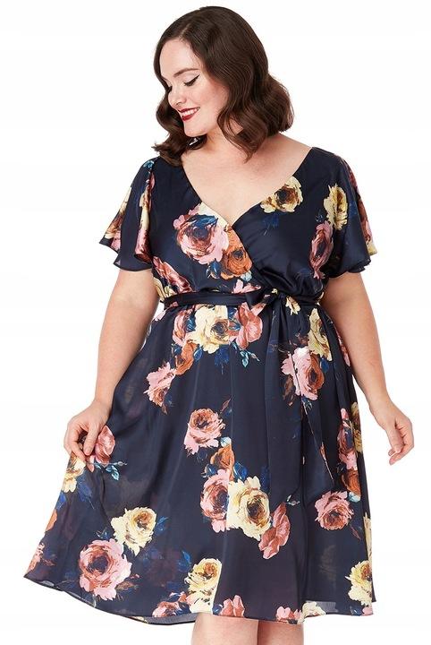Sukienka czarna w kwiaty suknia na wesele 44 UK 16 7775856492 Odzież Damska Sukienki wieczorowe KL VIEGKL-6