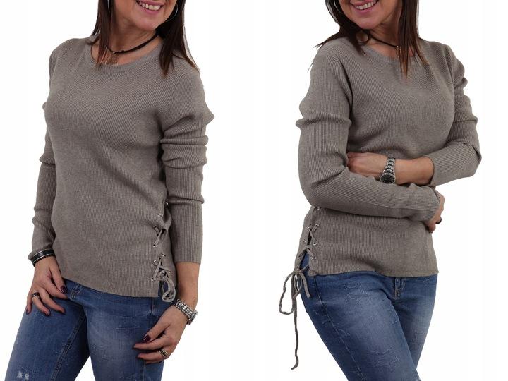 PROSTY SWETEREK PRĄŻKI WIĄZANE BOKI SZNURKI KOLORY 7783125431 Odzież Damska Swetry CP NTTVCP-1