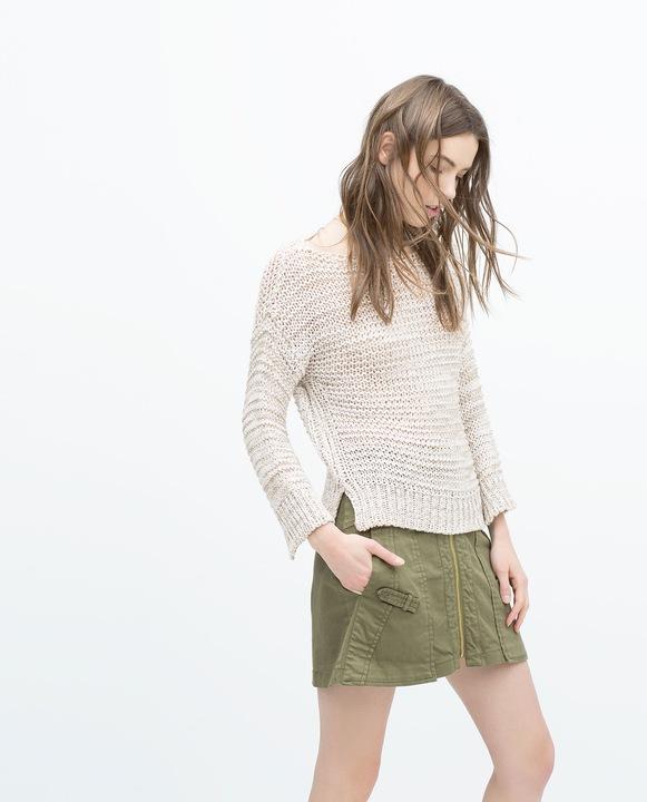 8w ZARA bezowy sweter pleciony melanż NOWY 36 S 9840395639 Odzież Damska Swetry XW GNZYXW-2